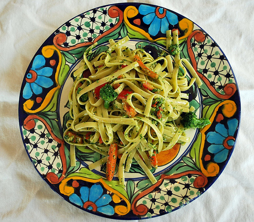 Garden Pasta with Spinach Pesto
